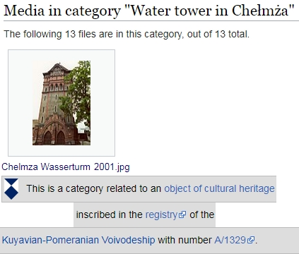 Category Water tower Chełmża bei Wikimedia