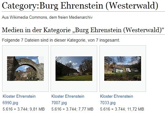Kategorie Burg Ehrenstein bei Wikimedia
