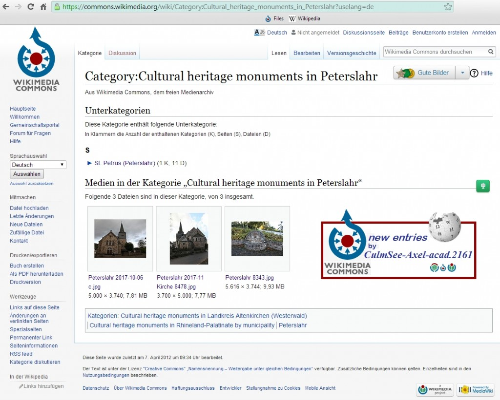 Category Cultural heritage monuments in Peterslahr bei Wikimedia