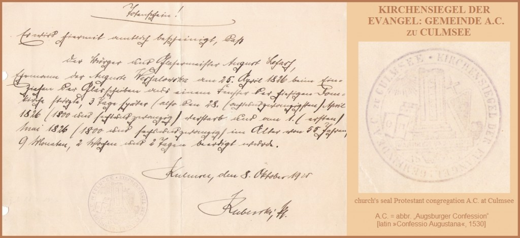 Kirchensiegel Culmsee 1920 all