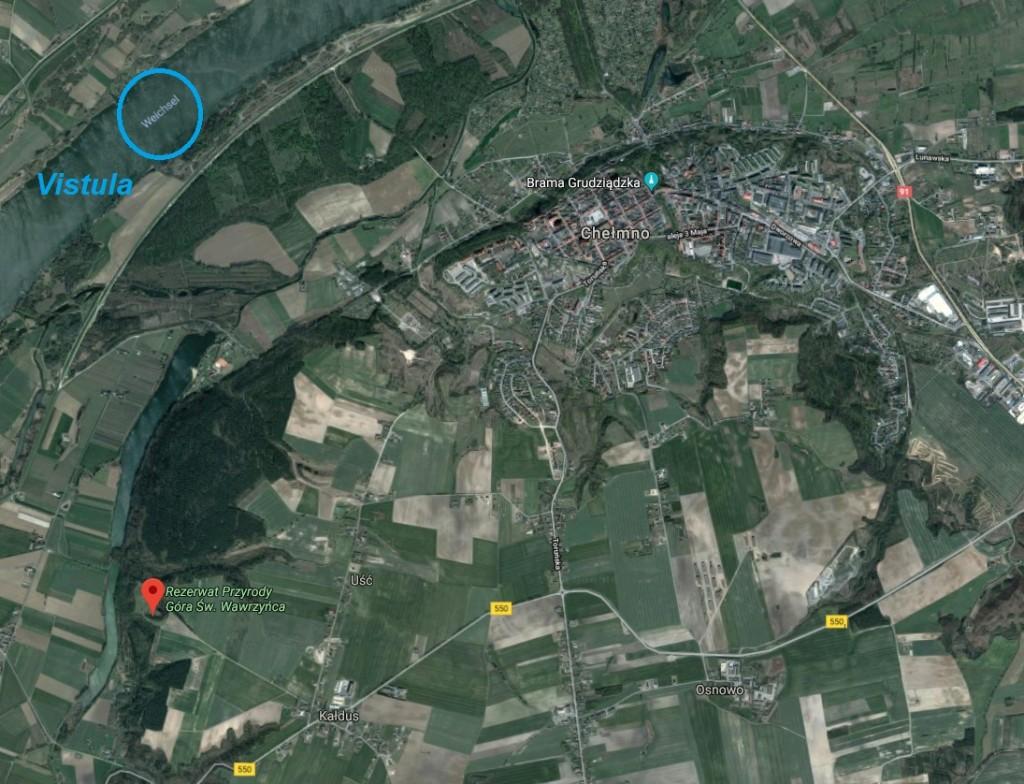 hill area: Chelmno Kaldus at Vistula
