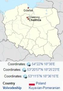 Gdansk Chelmno Chelmza at Poland map