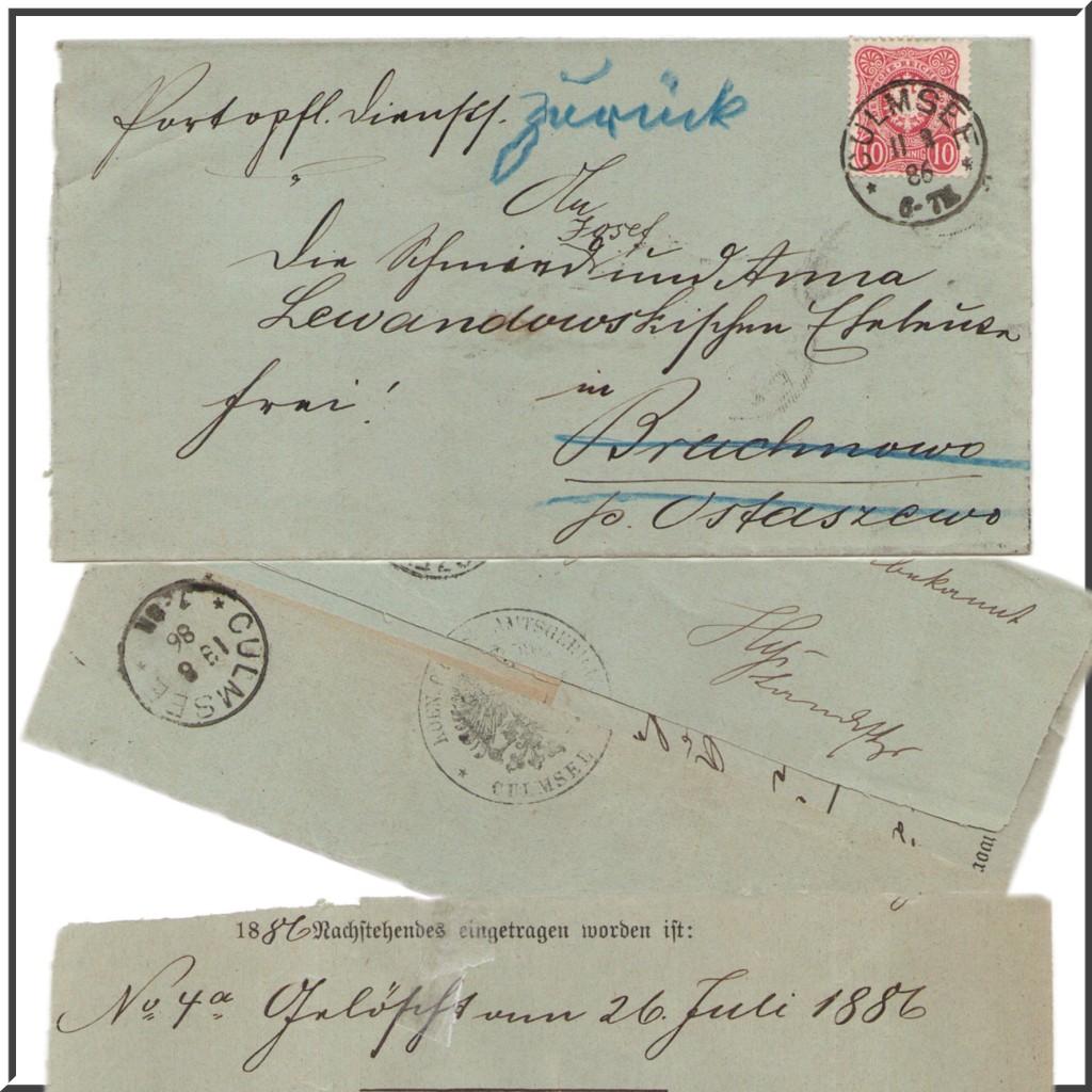 Amtsgericht Culmsee Brief mit Siegel von 1886