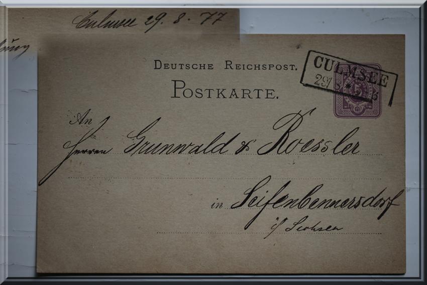 Culmsee Postkarte 1877-8-29