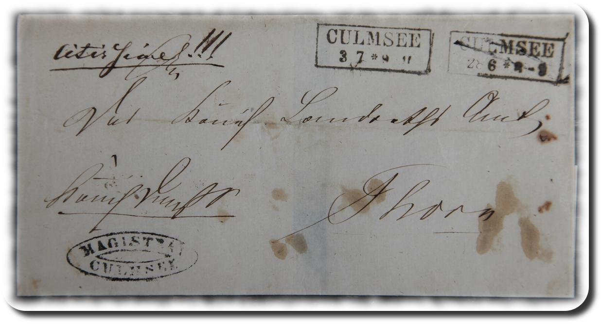 pre-philately-envelope Culmsee Magistrat