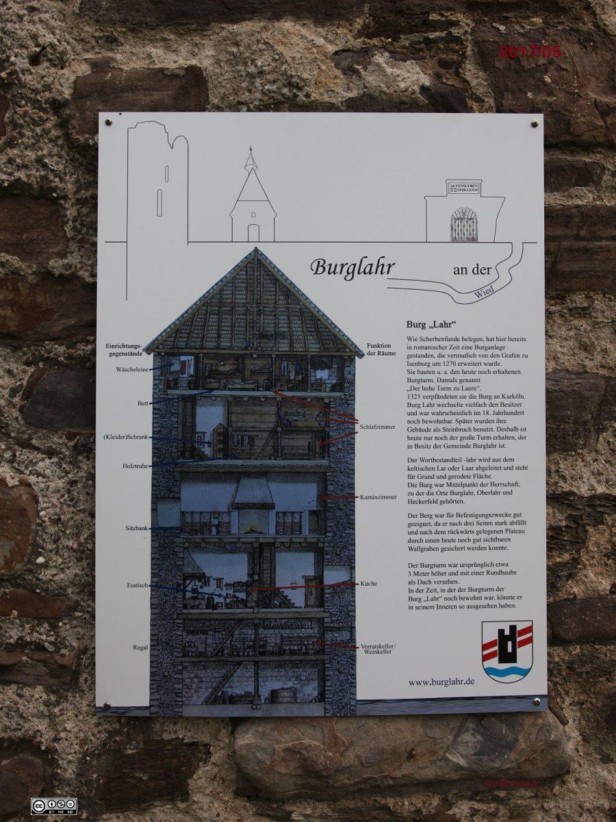 Burglahr neben Eingang Turm Burg Lahr Plakat-Schild