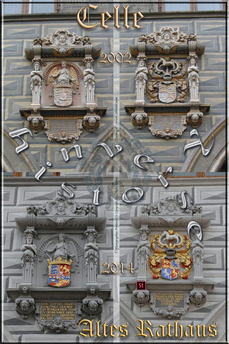 Celle Altes Rathaus Fassadenskulpturen 2002 u 2014