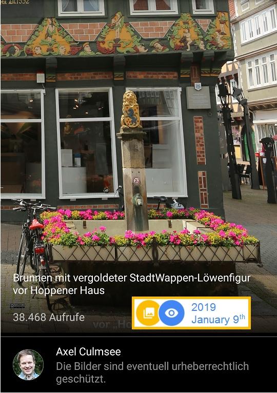 Celle Brunnen Wappen-Löwe vor Hoppener Haus