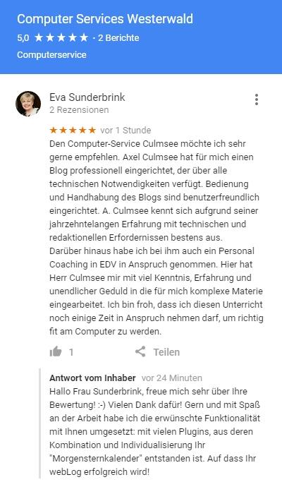 Rezension Computer-Services.Culmsee.com von Eva Sunderbrink