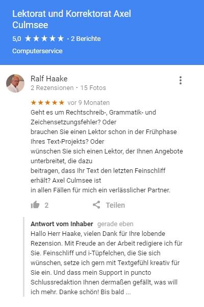 Rezension Lektorat.Culmsee.com von Ralf Haake