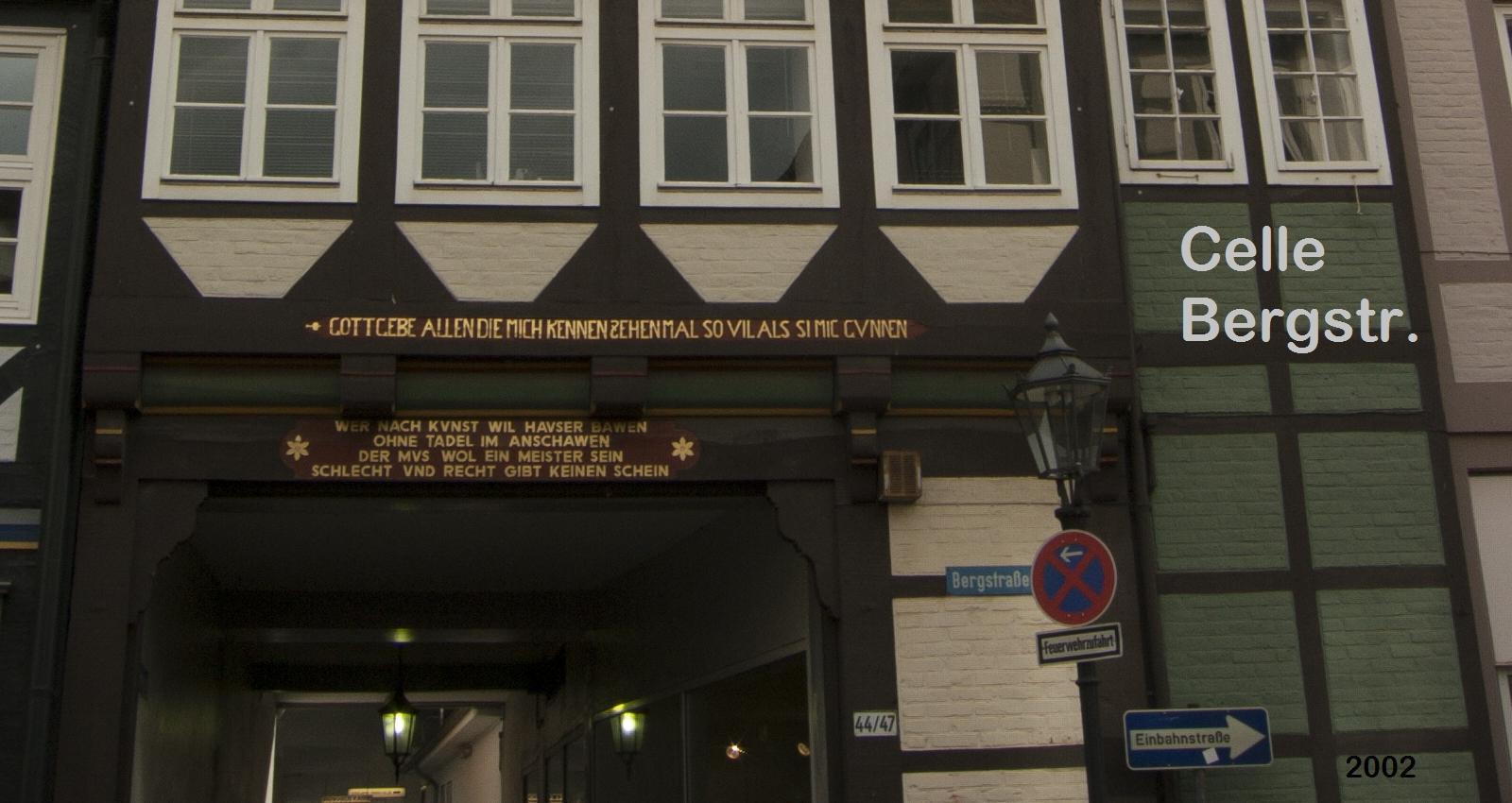 Fachwerkhaus Celle Bergstr 44-47 Inschrift