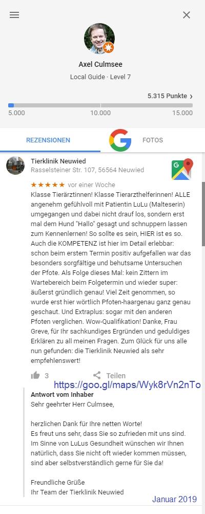 Rezenzion Tierklinik Neuwied Januar 2019