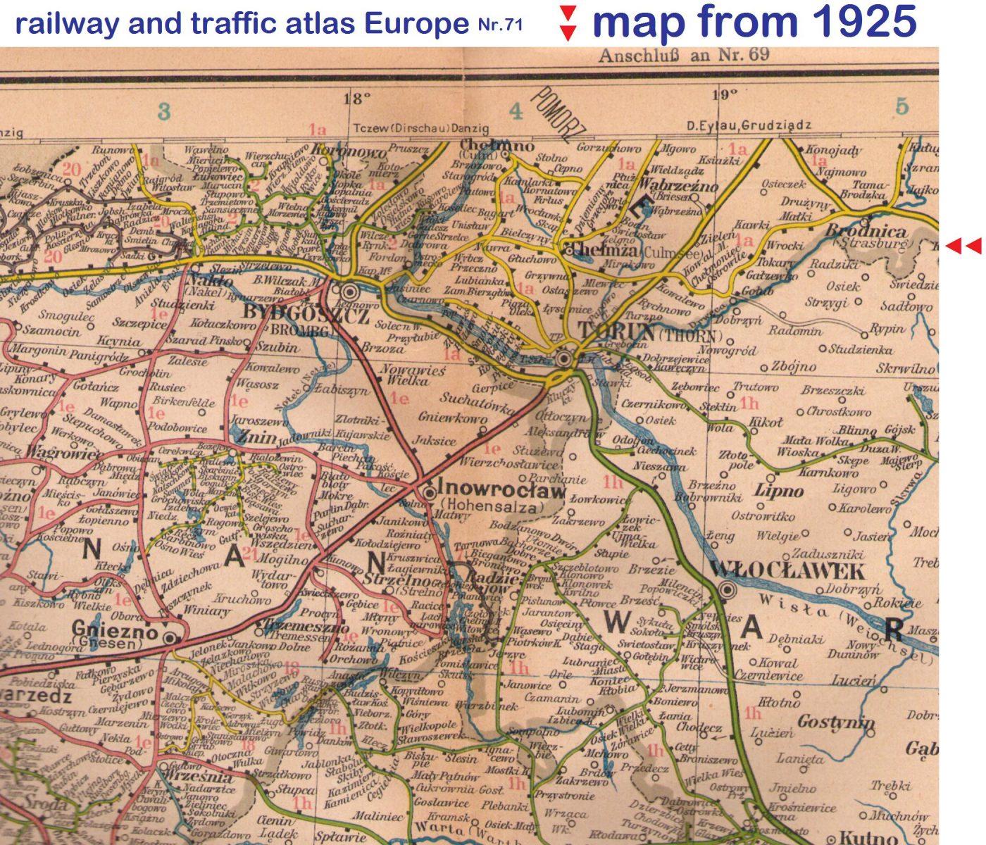 Culmsee 1925 Eisenbahn- u Verkehrsatlas cut