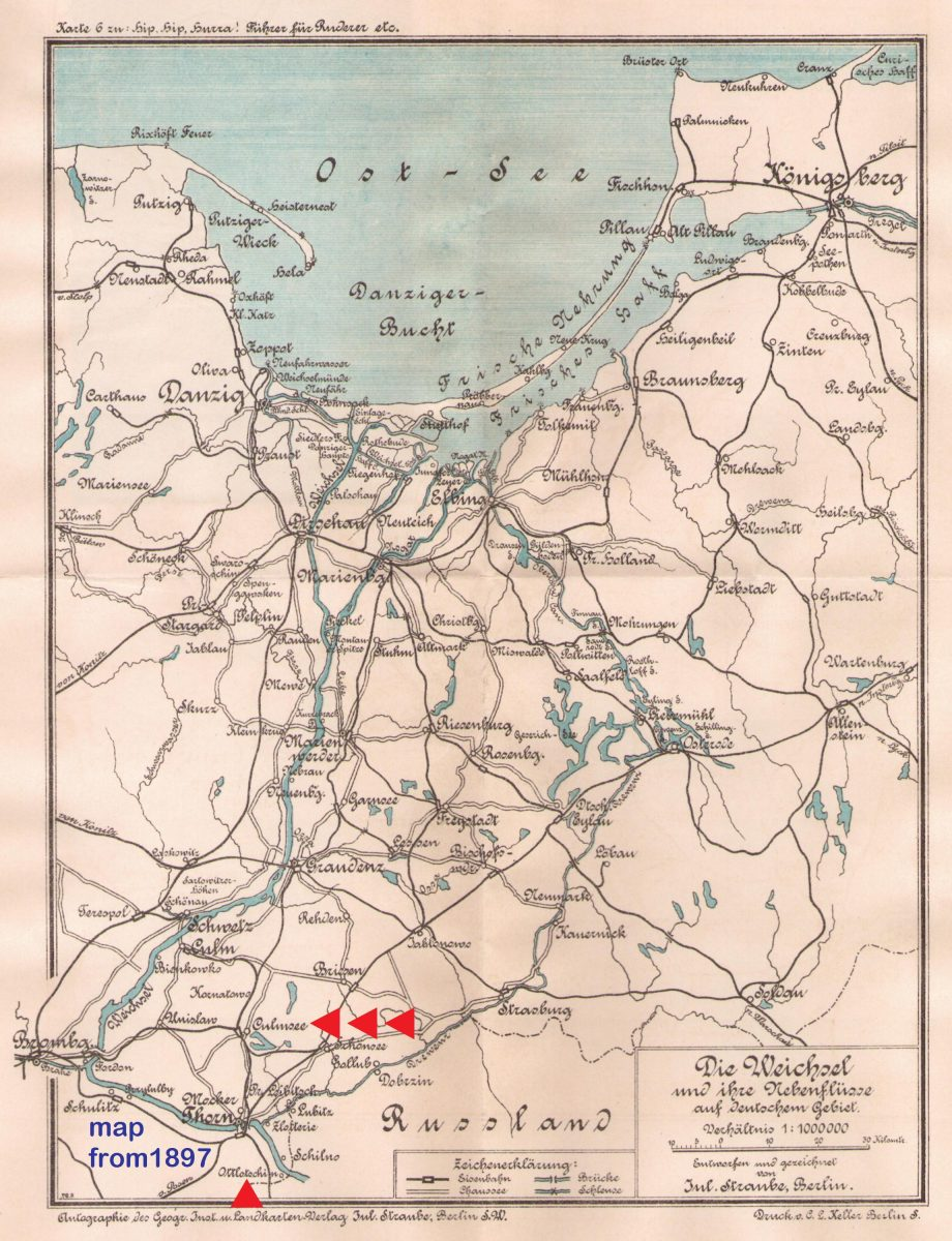 Culmsee Karte 1897 Weichsel Vistula rowing