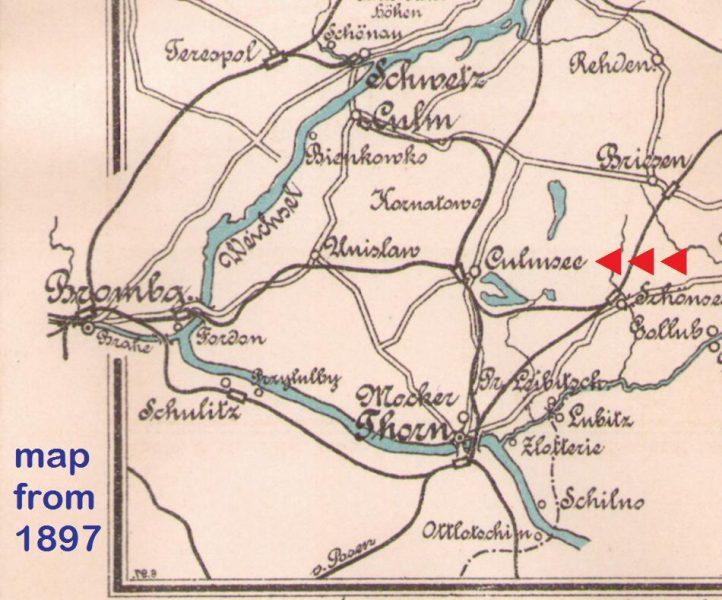 Culmsee Karte 1897 Weichsel Vistula rowing cut