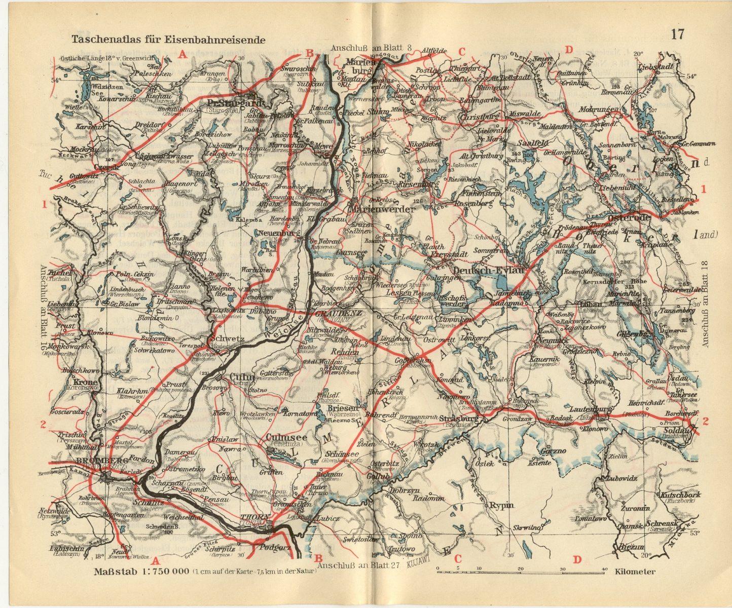 Eisenbahnkarte Culmsee Taschenatlas 1925