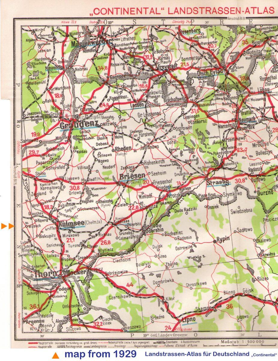 Kulmsee 1929 Landstrassen-Atlas cut