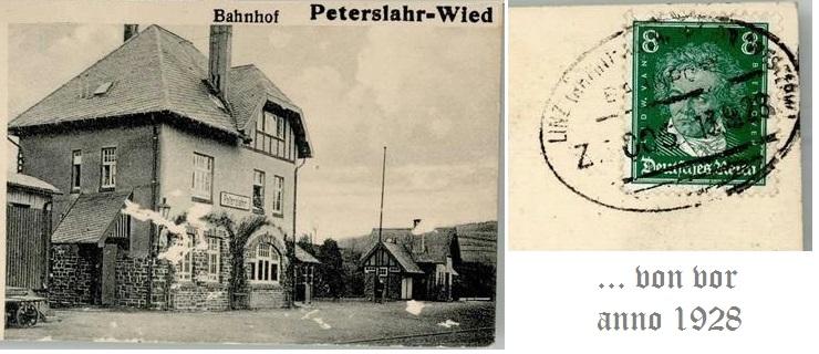 antike Postkarte Bahnhof Peterslahr Wied1928