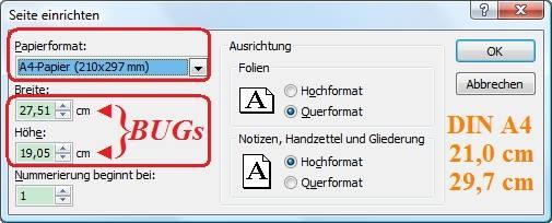 Bug PowerPoint DIN A4