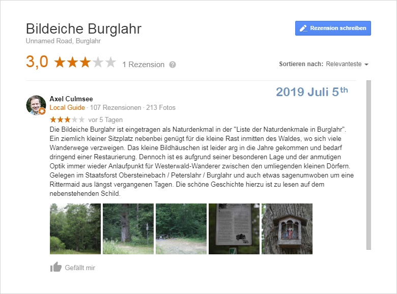 Google Local Guide review Bildeiche Burglahr
