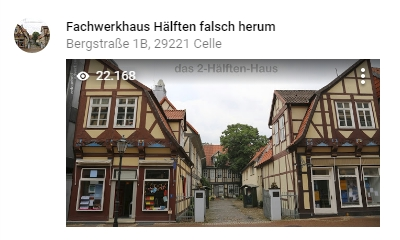 Celle half-timbered house 2 halves wrong rebuilt