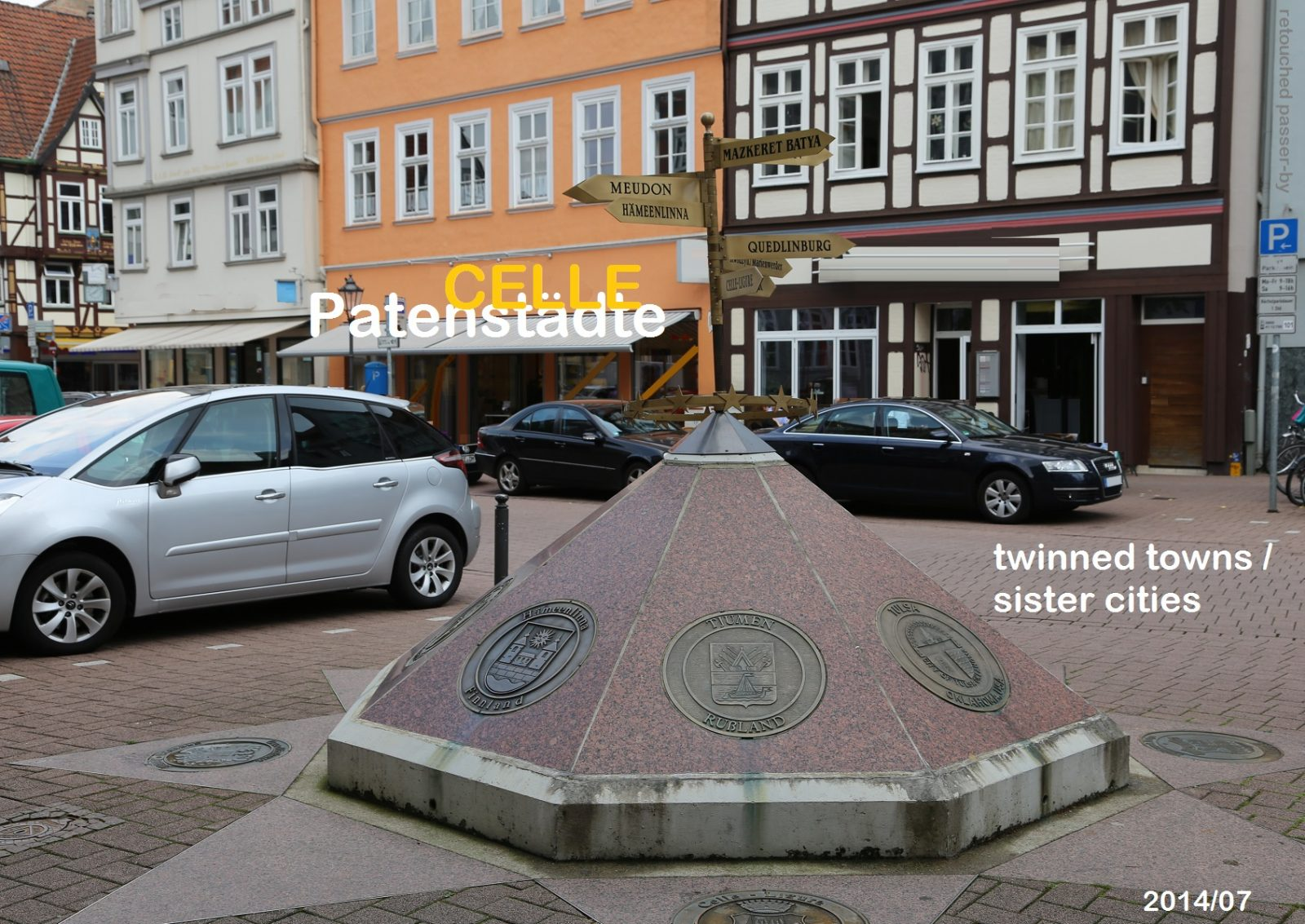 Celle sister cities Kunstwerk-Wegweiser granite