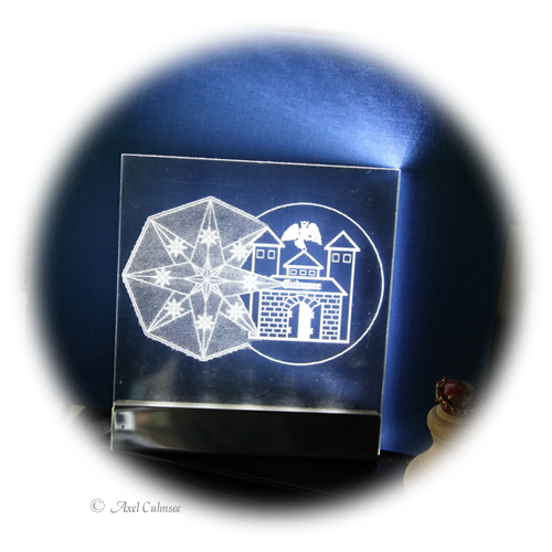 Axel Culmsee double seal heraldic figure LED Laser engraved