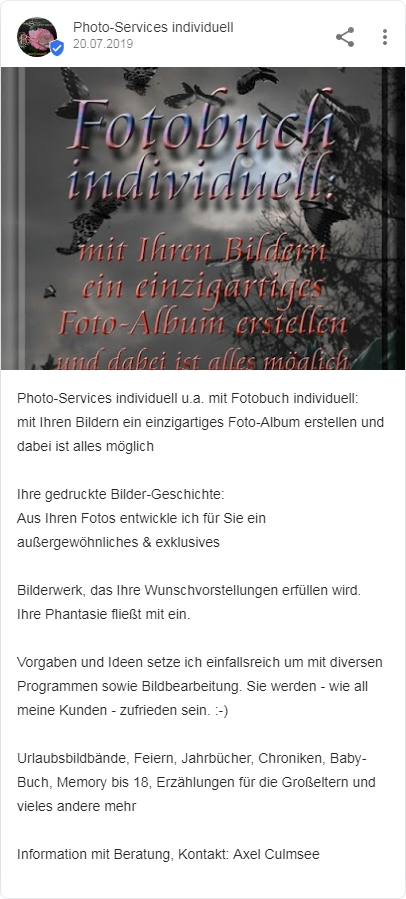 Photo-Services individuell Google Suche Fotobuch