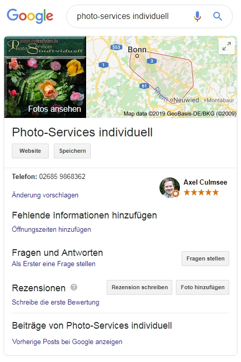 Photo-Services individuell Google Suche