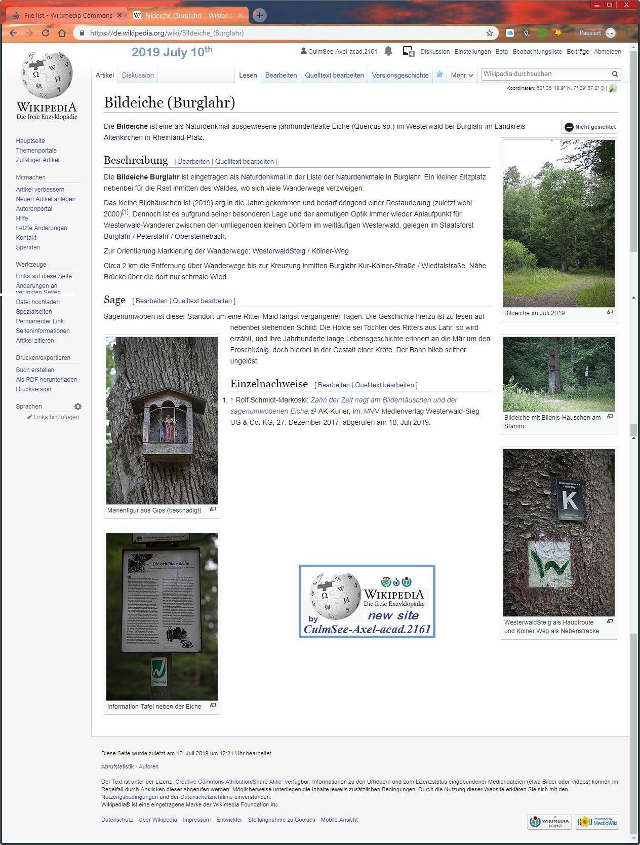 Wikipedia neue Seite Bildeiche Burglahr