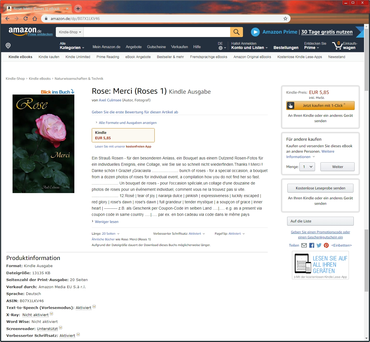 Amazon eBook Produktseite von Axel Culmsee Rose Merci