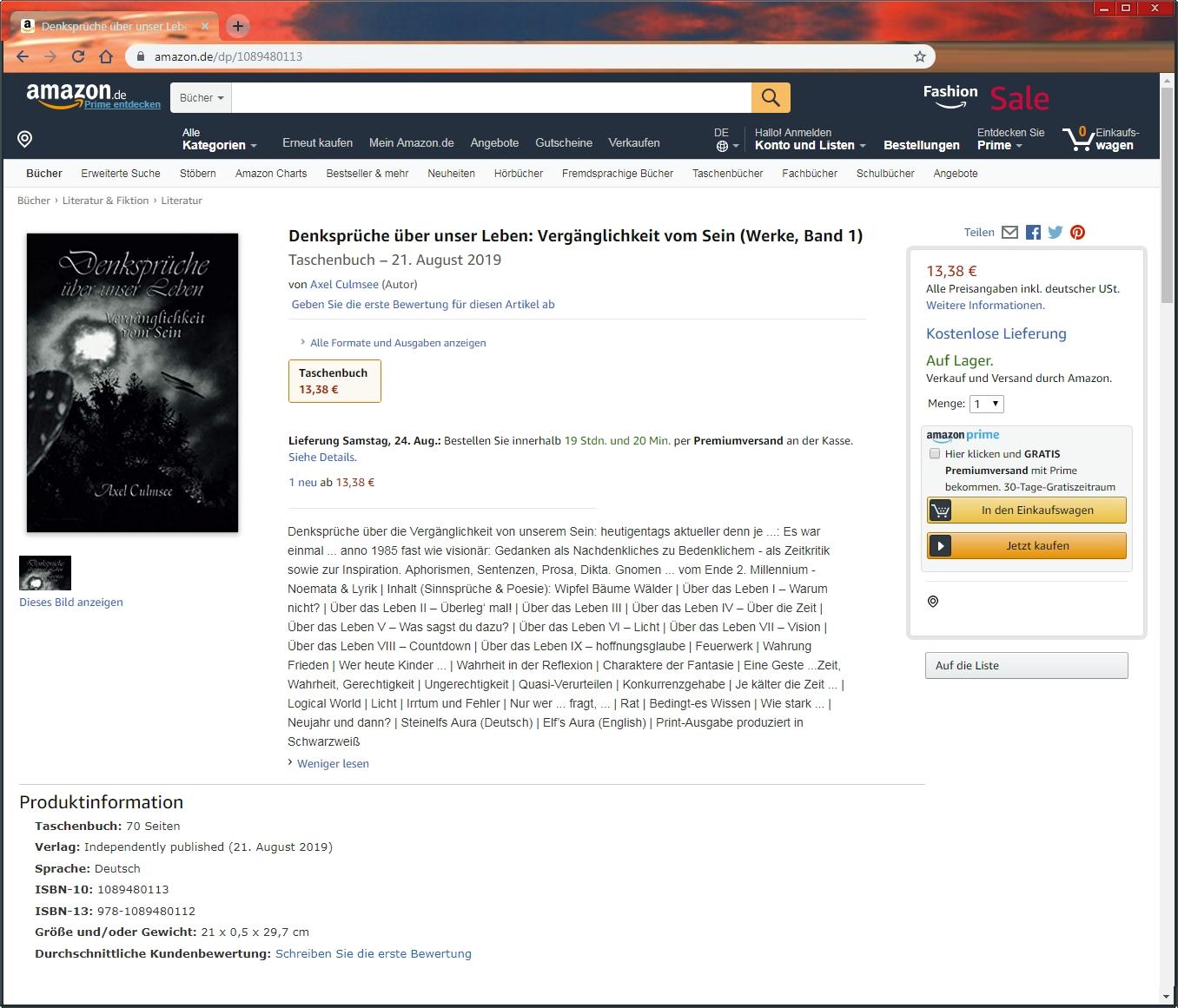 Amazon Buch von Axel Culmsee Denksprueche ueber unser Leben Vergaenglichkeit vom Sein