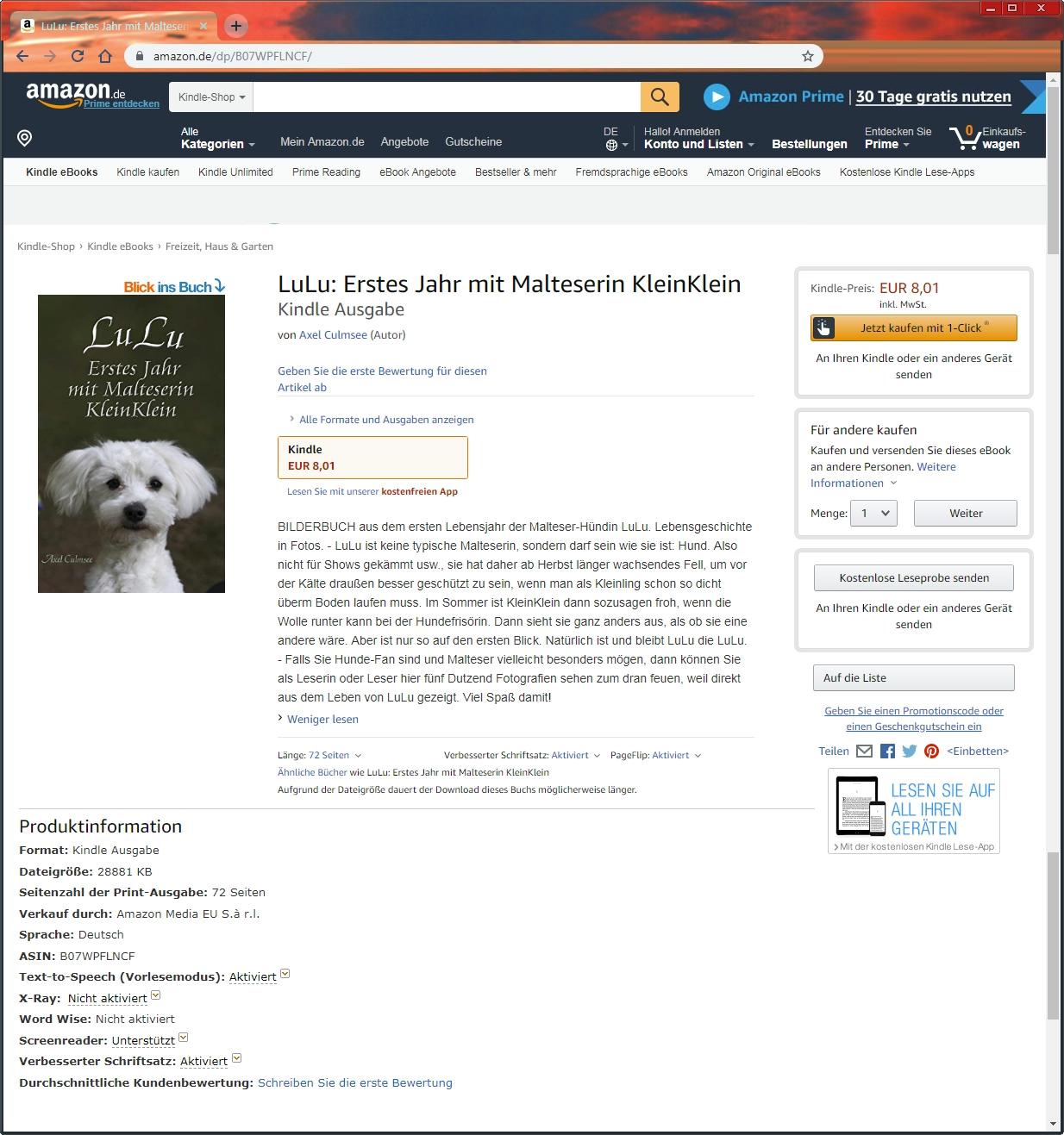 Amazon eBook Produktseite von Axel Culmsee LuLu Erstes Jahr mit Malteserin KleinKlein