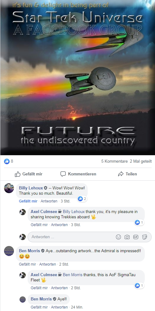 Feedback to my artwork Star Trek Universe membership Future the undiscoverd country