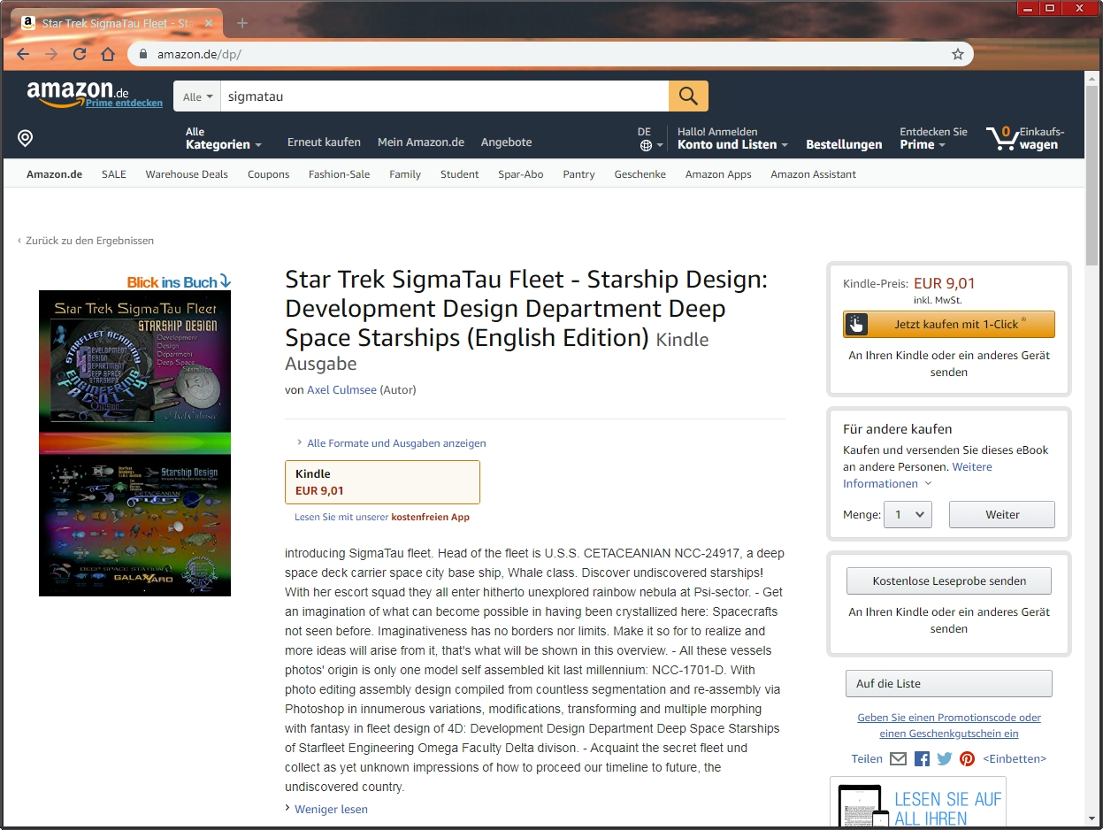 Amazon Kindle eBook Autor Axel Culmsee SigmaTau Fleet starship design