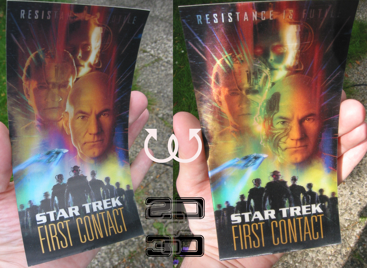 VIII First Contact 1996 2D-holographic interlayer foil card simulating 3D effect