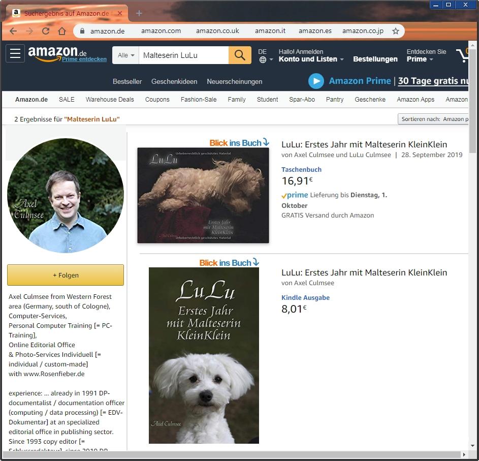 LuLu, Edition Print Amazon, Erstes Jahr mit Malteserin KleinKlein