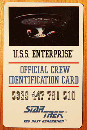 official crew NCC-1701-D identification card 1992