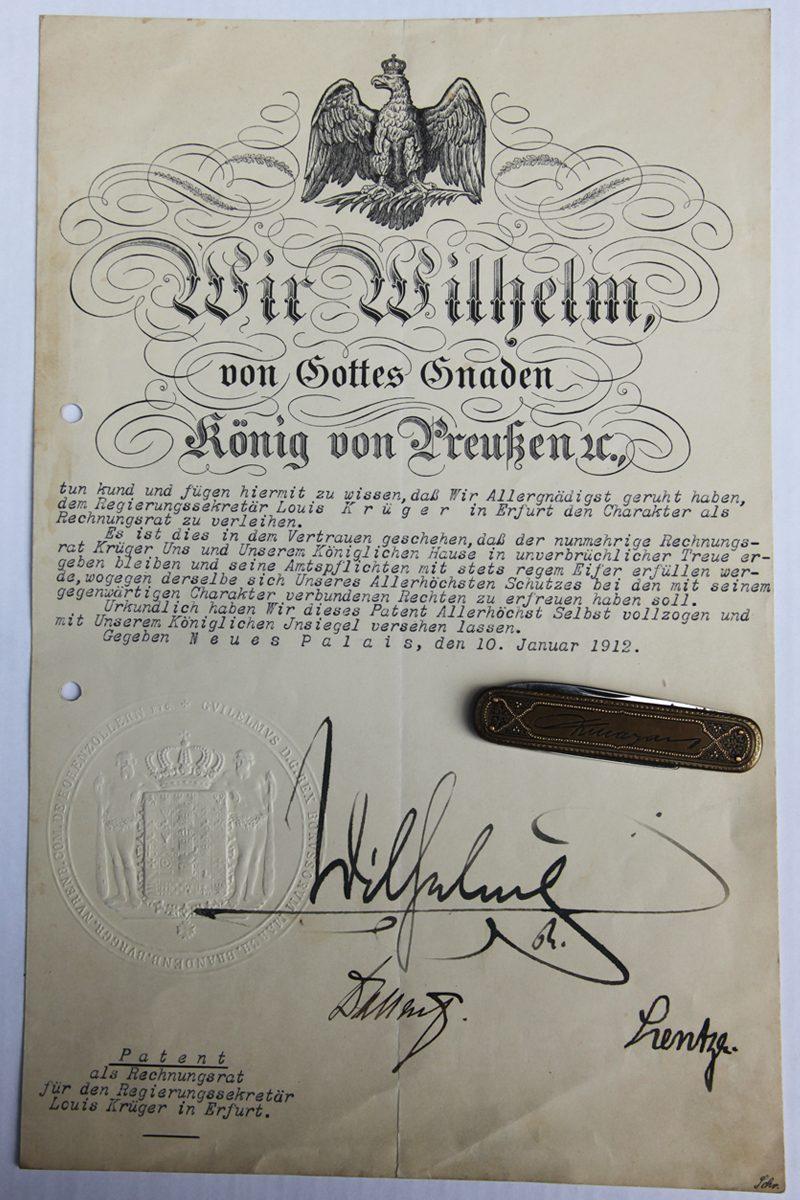 Urkunde Rechnungsrat Louis Krueger 1912 Urkunde Wilhelm II