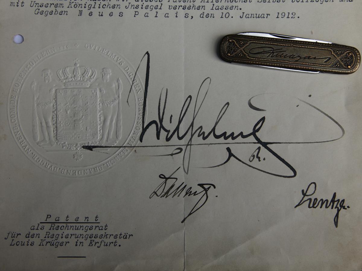 Sigel Unterschrift Urkunde Rechnungsrat Louis Krueger 1912 Urkunde Wilhelm II
