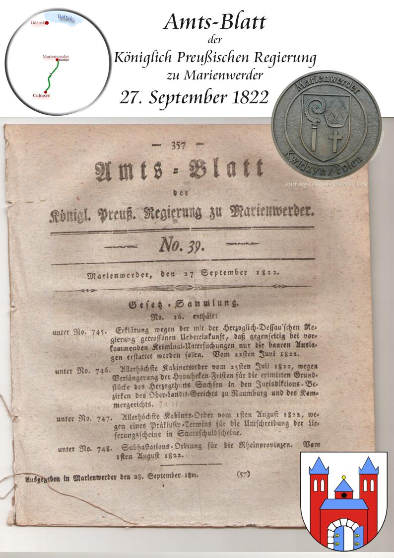 Amts-Blatt Königlich Preuss. Regierung Marienwerder 27.9.1822 p357