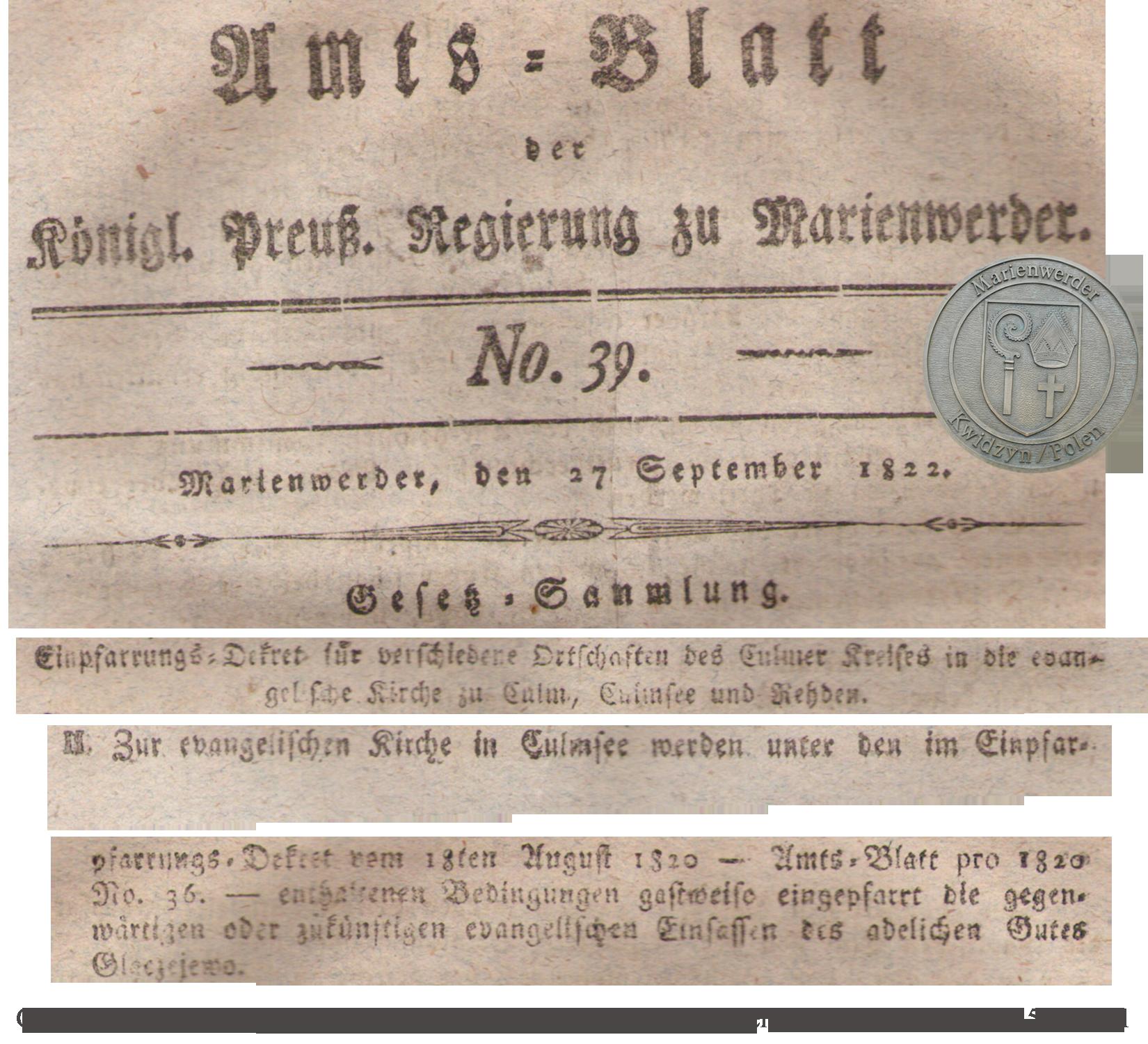 Amts-Blatt Königlich Preuss. Regierung zu Marienwerder 27.9.1822 Ausschnitte