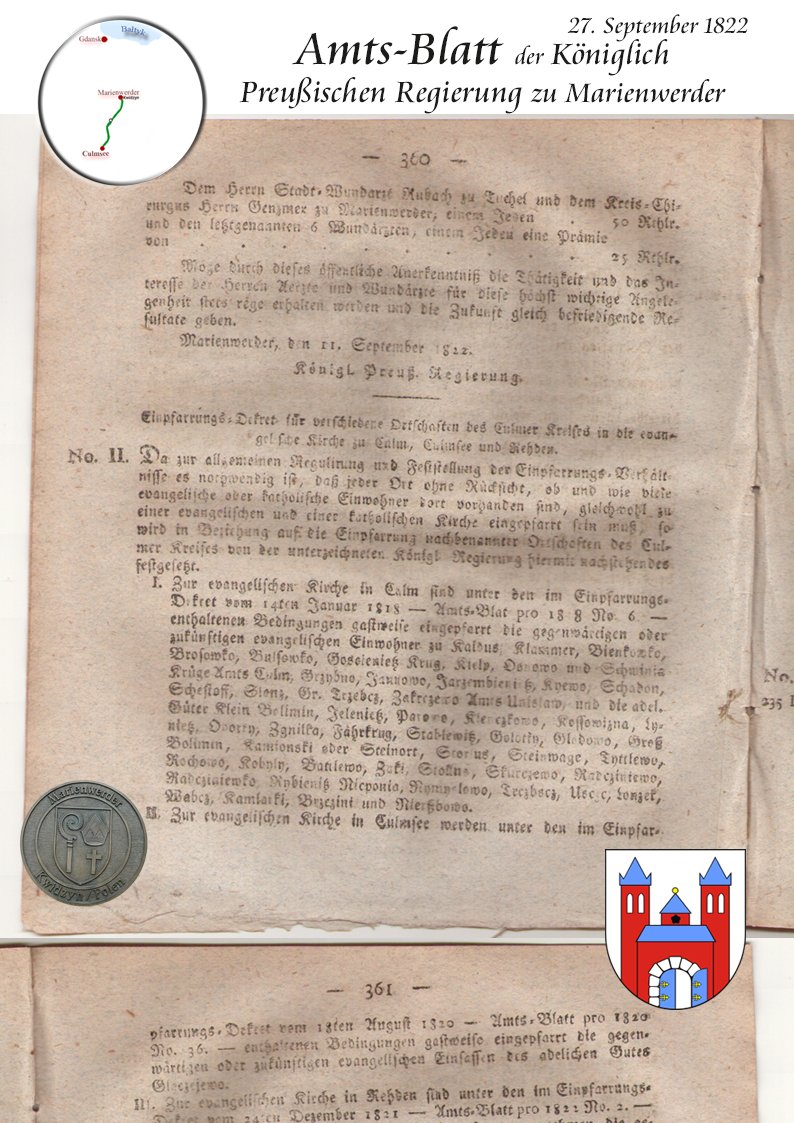 Amts-Blatt Königlich Preuss. Regierung zu Marienwerder 27.9.1822 p360-1