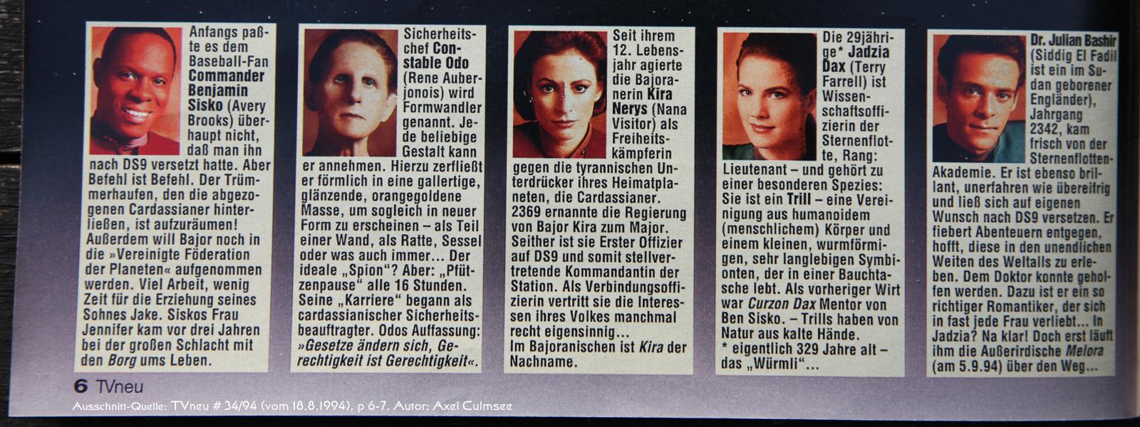 DS9-Artikel in TVneu 34-1994 Ausschnitt Crew 1
