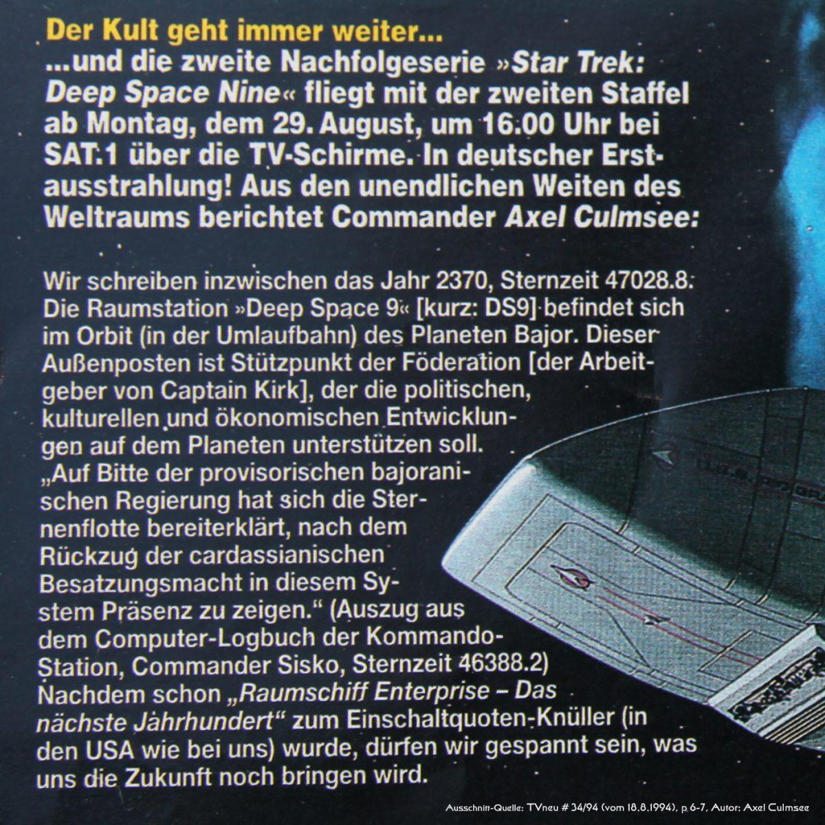 DS9-Artikel in TVneu 34-1994 Ausschnitt Haupttext