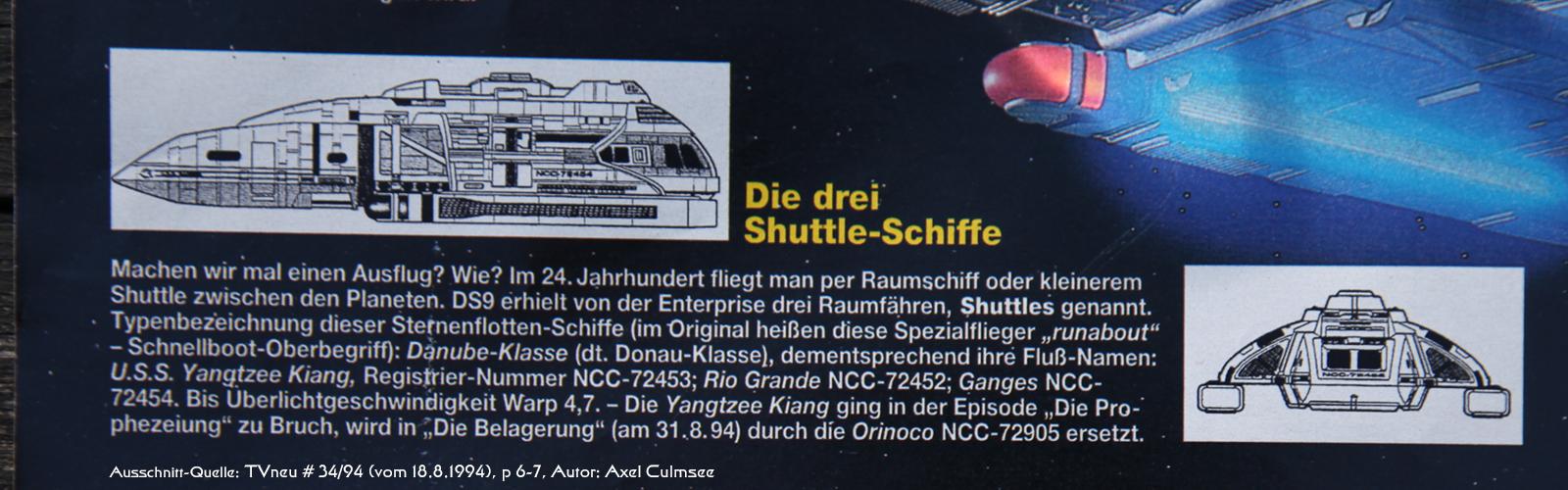 DS9-Artikel in TVneu 34-1994 Ausschnitt Shuttles