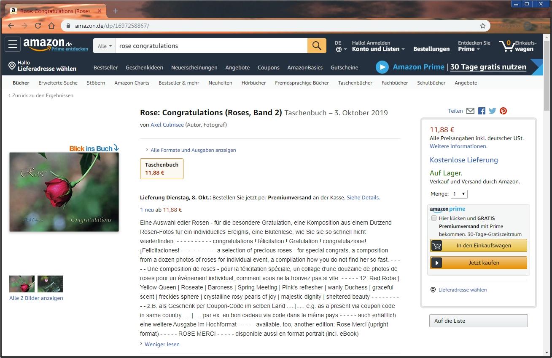 Amazon eBook Produktseite von Axel Culmsee Rose Congratulations