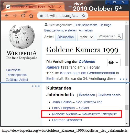 Nichelle Nichols de.Wikipedia Goldene Kamera 1999
