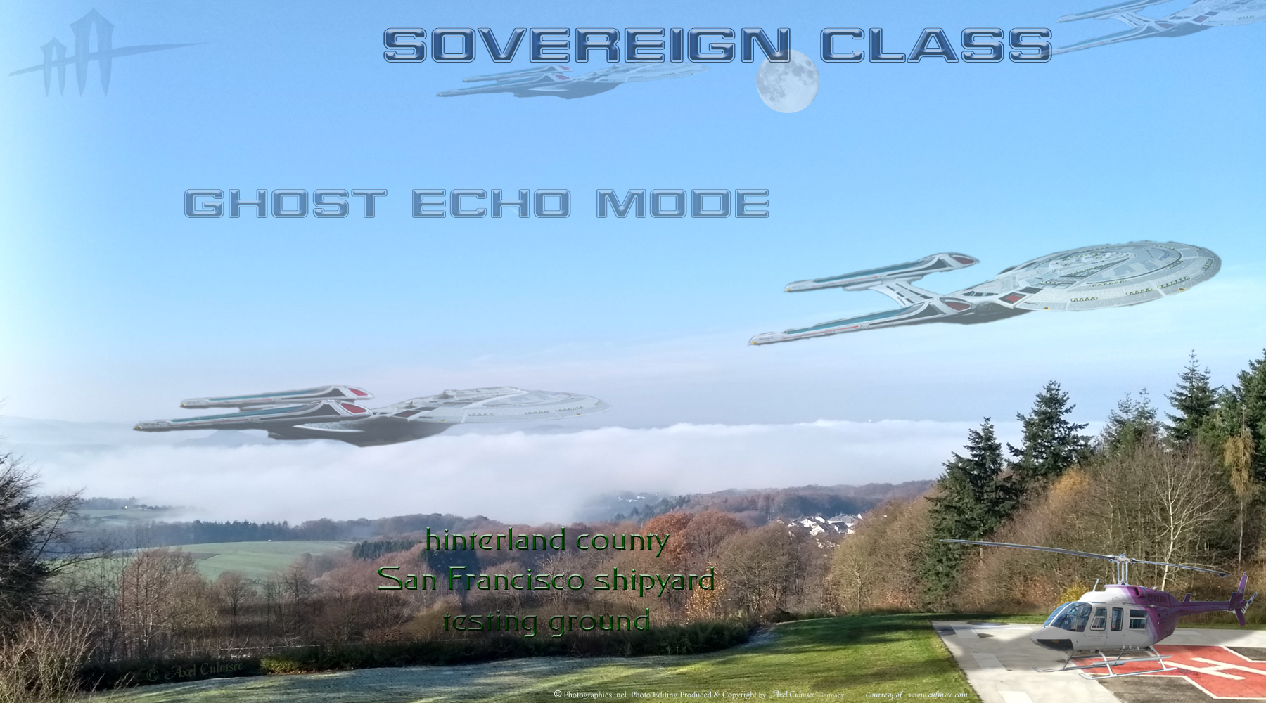 Sovereign class ghost echo mode across hinterland county San Francisco shipyard testing ground NCC-1701-E
