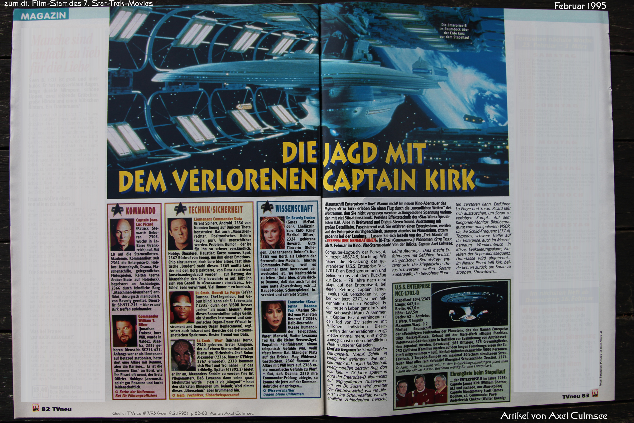 Star Trek Generations-Artikel in TVneu 7-1995
